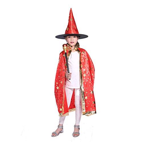 Tinksky Halloween Kostüme Hexe Zauberer Umhang mit Hut für Kinder Kinder (Hexe Kinder Kostüm)