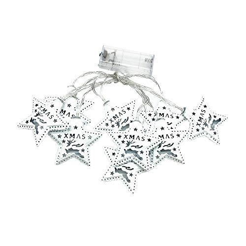 2 STÜCK Fünfzackigen Stern LED 1.5M Lampe Weihnachtsfeier Garten Dekoration Licht Passend für Weihnachten und auch Geburtstagsfeier (Warmweiß)