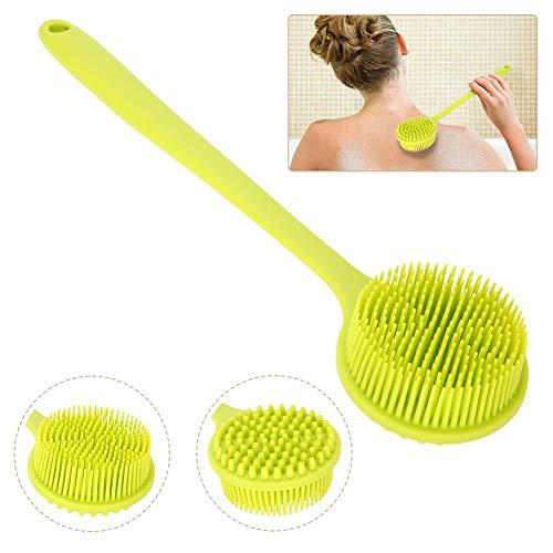 Spazzola per doccia bifacciale, impugnatura in silicone lungo 15 pollici impugnatura massaggiante esfoliante corpo spazzola per le donne, anziani e bambini strumento per il bagno pelle sensibile