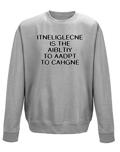 Brand88 Intelligence is, Erwachsene Gedrucktes Sweatshirt - Grau/Schwarz S = 86-91 cm