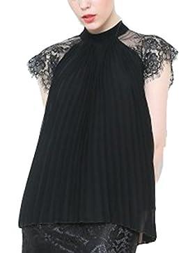 La Mujer Es Elegante De Encaje Plisado De Gasa Acanalada Blusa Camisa De Retazos Sueltos Top