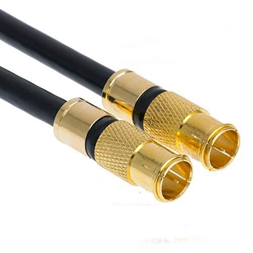 15m Satkabel Schwarz 135 db Quick F-Stecker Schnellstecker Sat Kabel DIGITAL Antennenkabel Koaxial Router Anschlusskabel HD 4K UHD (15m, Schwarz - 2X F-Schnellstecker)