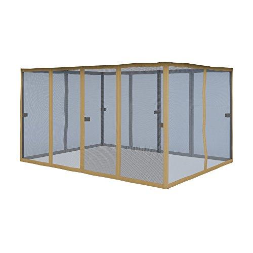 Paramondo zanzariera-parete laterale per comfort gazebo da giardino impermeabile, beige - linguette color caffè, pacco da 6