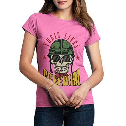 C899WCNTA Damen T-Shirt Your Freedom Army Fighter Air Force Classic Jet Plane Aircraft US Military Base Vintage(Small,Azalea) -