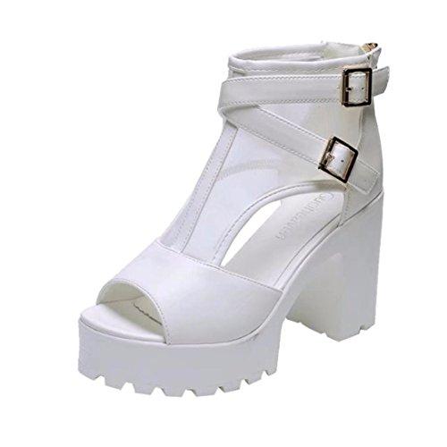 2018 Sandalias de cuñas de la Manera Zapatos, Mujeres Plataforma de la Boca de Pescado Tacones Altos Sandalias Sandalias Hebilla Correa de Malla Botines (38, Blanco)