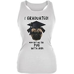 Camiseta de tirante con la imagen de un carlino en su graduacion