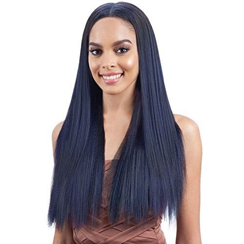 (Mode blau schwarz synthetische Perücken für Frauen, zentrale Trennung Lange gerade Perücke Cosplay Hochtemperaturfaser synthetische Faser Perücke, gemütlich)