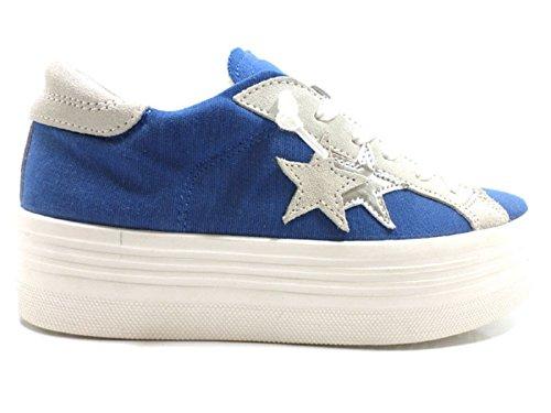 scarpe donna 2 STAR 38 EU sneakers blu beige tessuto camoscio AW649