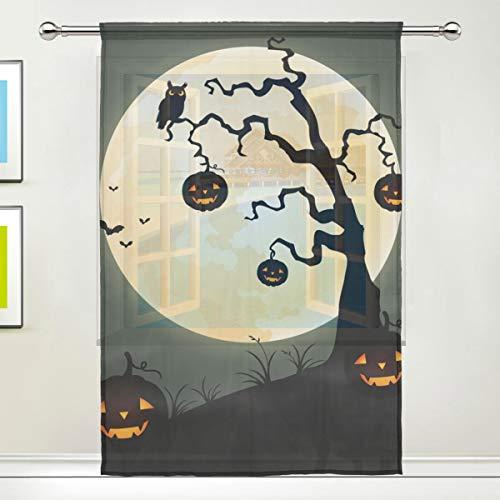 BONIPE Halloween-Vorhang mit Kürbis-Motiv, aus Voile, Tüll, für Küche, Schlafzimmer, Wohnzimmer, Wohnzimmer, Dekoration, 139,7 x 198 cm, 1 Stück, Polyester, Multi, 55x78x1(in)