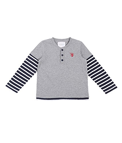 Oceankids Jungen Runder Kragen Langarmshirt / Kinder T-Shirt Langarm Grau 8T (End Kinder-fleece Lands)