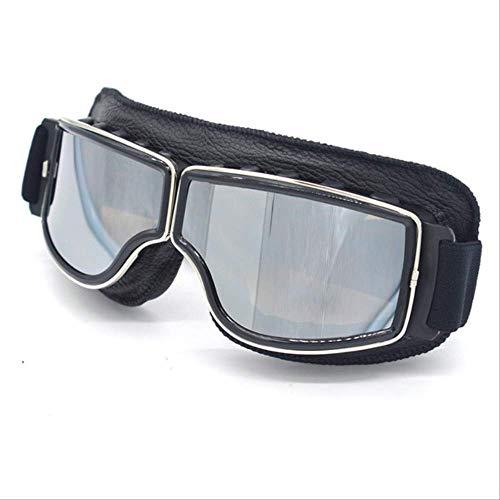 XYQY brille Universal Motorrad Vintage Brille Pilot Aviator Motorrad Roller Biker Gläser Steampunk Für Harley HelmSilber Objektiv