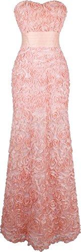 Angel-fashions Damen Traegerlos Schatz Rose Applikationen Falten Schaerpe Hochzeitskleid Medium