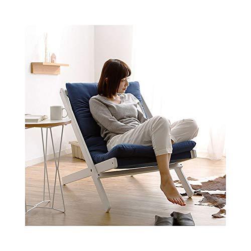 TAO Lazy Sofa Klappstuhl Einzelsofa aus Stoff Schlafzimmer Arbeitszimmer Moderner minimalistischer Stuhl Abnehmbares und waschbares Design 58,5 × 89 × 78 cm (Color : Dark Blue) - Schlafzimmer Stoff Stuhl