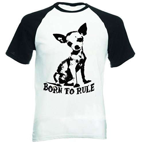 Teesquare1st Men's CHIHUAHUA BORN TO RULE PB 2 Black short Sleeved T-Shirt Size XXLarge