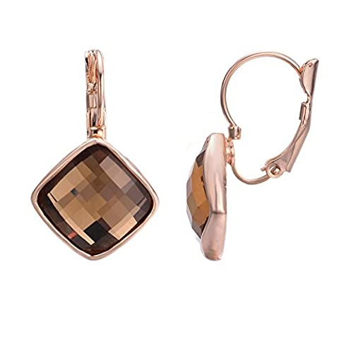 Yoursfs Geometric-shaped Square Drop Earrings Dangling Champagne Austrian Crystal Women Wedding Fashion Jewellery 18ct Rose Gold Plated Leverback Earrings