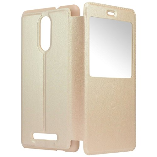 SDO™ S-View Window Leather Finish Textured Flip Cover for Xiaomi Redmi Note 3 (Gold)