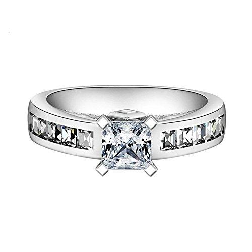 SonMo Ringe 925 Silber Hochzeit Ring Eheringe Heiratsantrag Ring Solitär Weiß Ringe mit Diamant Zirkonia Ring Frauen Größe 60 (19.1)