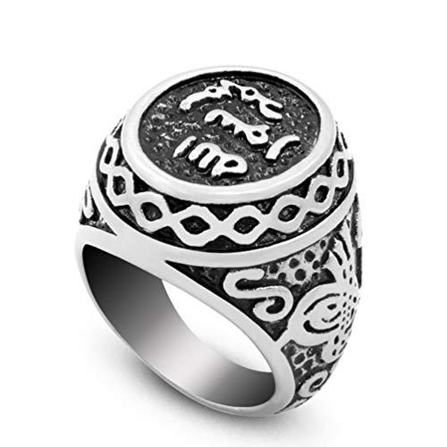 Wind Goal WIDG-Herrenringe aus Titan, Runde Siegel-Glaubensringe Muslimischer Islam-Islam-Ring, 8-13