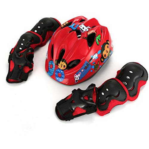 ZMJY Kind Protective Gear Set, Boys Girls Cycling Cycling Helmet Safety Pads Set [Knie & Ellenbogen Pads Wrist Guards] Roller Skateboard Bicycle-7 Pcs,Red