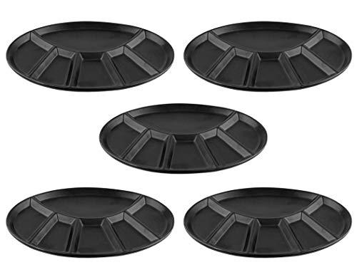 BigDean 5er Set - Fondueteller/Racletteteller schwarz mit 6 Einteilungen - Robuste Keramik - Ideal für Feiern, Feste & Fondue