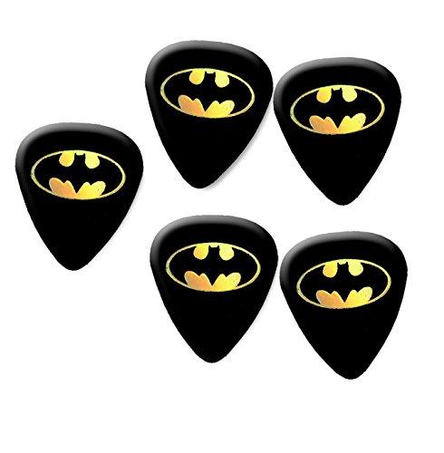 Batman Perlglanz Guitar Pick Plektrum Set of 5Medium Gauge 0,71mm - Metall Batman Kostüm