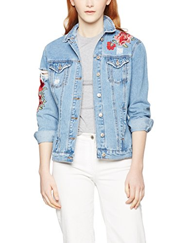 New Look Damen Jacke Sara Denim, Blau, 38