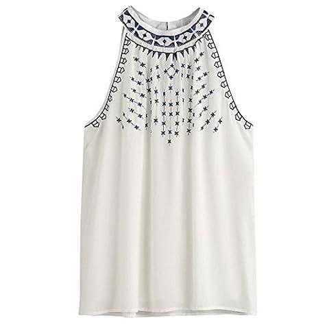 Xinantime Femme brodée Tank TOPS sans manches Chemisier Gilet TOPS, femme, blanc, UK Size:8