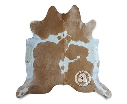 Teppich aus Kuhfell, Farbe: Beige und Weiß , Größe circa 180 x 210 cm, Premium - Qualität von Pieles del Sol aus Spanien