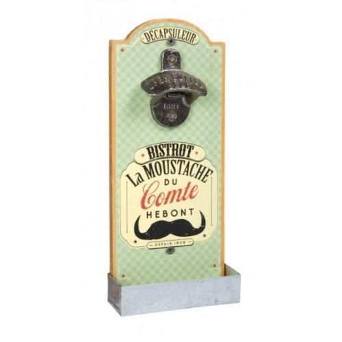Natives 410690Flaschenöffner Wand Kapselheber Retro Moustache / Breite 12 cm Höhe 30 cm