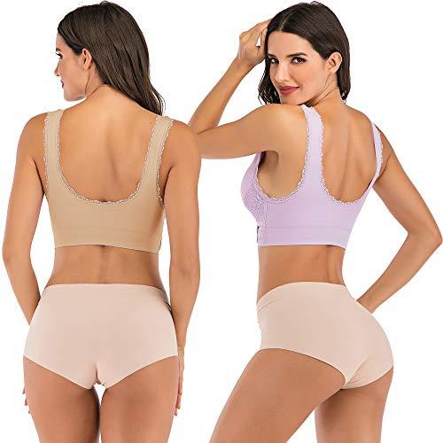 JANSION Damen BH mit seitlicher Schnalle, Spitze und Bralette, abnehmbar, gepolstert, Yoga, Lounge-BH, Bustier, Damen, Beige/Violett, Small - 3