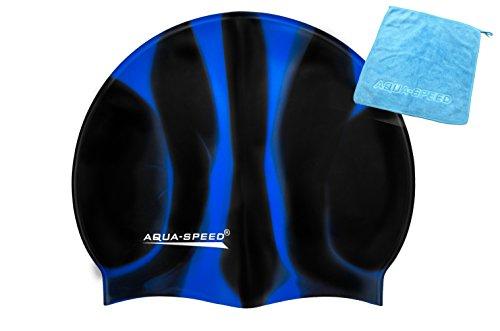 Aqua Speed SET - BUNT Badekappe + Kleines Mikrofaser Handtuch   Silikon   Bademütze   Badehaube   Schwimmhaube   Erwachsene   Damen   Herren   Kinder, Kappen Designs:41. Bunt/39