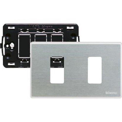 BTicino S503/12XS Magic Kit, Supporto e Placca, 2 Moduli,...