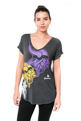 ICER Brands Damen T-Shirt NFL V-Ausschnitt Soft Modal Tee Shirt Team Color, Damen, Jersey T-Shirt Mesh Varsity Stripe Tee Shirt, Team Color, grau, Small (Shirt Vikings-damen Minnesota)