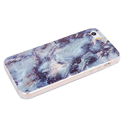 Felfy iphone 5S Silikone Case,iphone SE Hülle,iphone 5 Schutzhülle Ultra Dünnen Weiche Gel TPU Silikone Transparent Schutzhülle Bumper Case Handy Tasche Hülle für Apple iPhone SEE/5S/5 (Plum Blume) +  Marmor Blaue Tinte