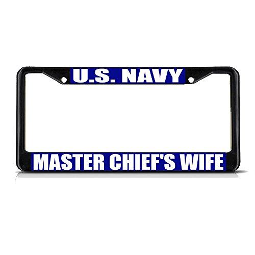 US Navy Master CHIEF'S Wife Nummernschild-Rahmen, Metall, ideal für Herren und Damen, Marineblau -