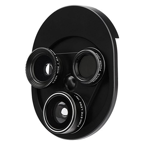 Foraco Handy Objektive, 4 in 1 Kamera Linsen Set Clip-on Adapter für iPhone Adroid Smartphone, 198 Grad Fisheye Objektiv, 15x Macro Objektiv, 0,63x Weitwinkelobjektive, CPL Objektiv