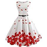 VEMOW Heißer Verkauf Elegante Damen Mädchen Frauen Vintage Bodycon Sleeveless Beiläufige Abendgesellschaft Tanz Prom Swing Plissee Retro Kleider(Weiß 1, EU-34/CN-S)