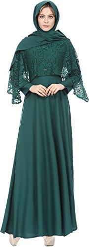 Ababalaya Damen Elegante Muslimische Islamische Kleidung Langarm Spitze Länge Maxi A-Linie Abaya...