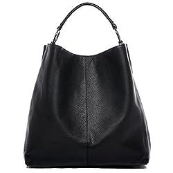 BACCINI Beuteltasche echt Leder Elisa groß Hobo Bag Schultertasche Ledertasche Damen schwarz