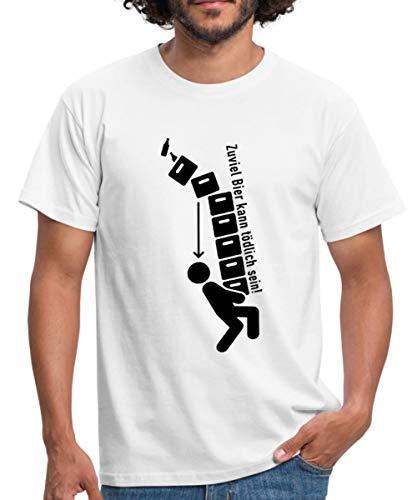 Spreadshirt Zuviel Bier kann tödlich Sein! T-Shirt Männer T-Shirt, M, Weiß -