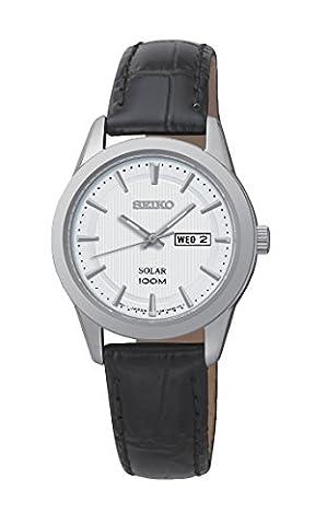 Ladies Women's Stainless Steel Seiko Solar Watch on Black Leather