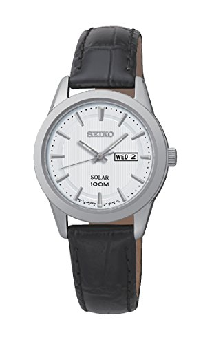 ladies-womens-stainless-steel-seiko-solar-watch-on-black-leather-strap-with-day-and-date-sut159p2