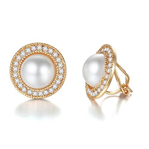 EVBEA Clip Ohrringe Mädchen Vintage Kunst-Perlen-Clip auf Ohrring Damen Fashion Kristall-Diamant-Blume Ohrring für Frauen mit ()