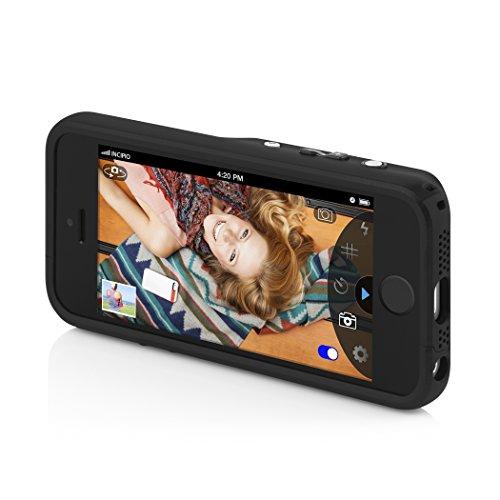 Incipio IPH-1062-BLK hochwertige Kunstleder Focal Kamera Schutzhülle mit Bluetooth für Apple iPhone 5/5S/SE schwarz -