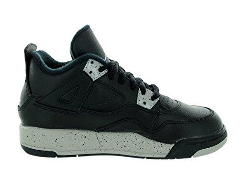 Nike Jordan 4 Retro Ls Bp, Chaussures de Sport Garçon Noir / Gris (Noir / Tech Gris-Noir)