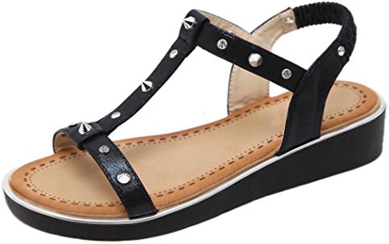 Ruiren Sandalias de Cuña del Rhinestone del Remache de Women Casual, Zapatos de la Playa del Verano para Las Señoras
