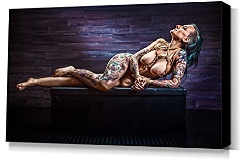 Nude Bound, Tattoo Girl - stretched canvas print - Fine Art of Bondage, sexy erotic fetish BDSM wall art, 40x60 cm, 16