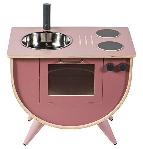 Sebra Spielküche für Kinder aus stabilem Birkenholz in Altrosa, zeitlose Optik vereint mit Funktionalität passt auch ins Wohnzimmer, Kinderküche geeignet für Kinder ab 18 Monaten