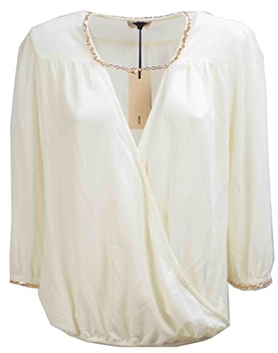 Camicia Donna TWIN SET SA62PC Poliestere Blusa con catena Autunno Inverno 2016 Bianco panna M