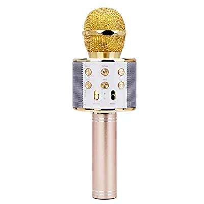 Wireless Bluetooth Microphone,Portable Handheld Bluetooth 4.1 Karaoke Microphone 2 in1 Multifunction Recording Karaoke KTV Audio for Android for iOS Phones for Outdoor Party Music Playing Singing